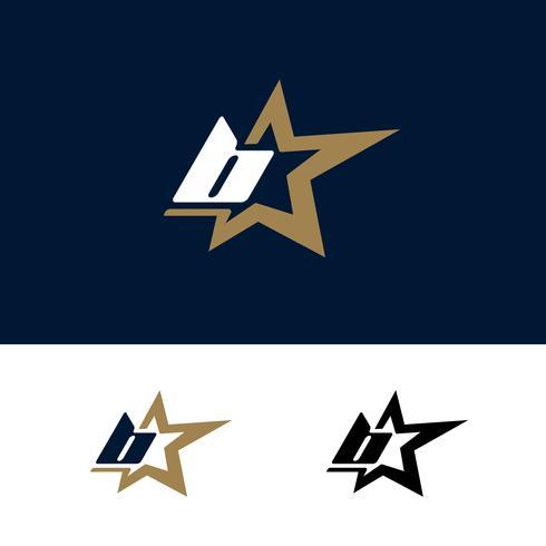 Modello di logo di lettera B con elemento di design stella. Illustrazione vettoriale