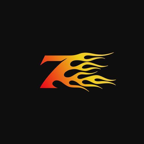 Numero 7 modello di progettazione logo fiamma ardente vettore