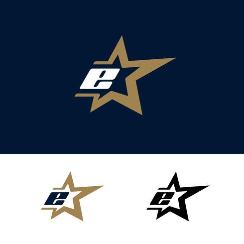 Modello di logo di lettera E con elemento di design stella. Illustrazione vettoriale