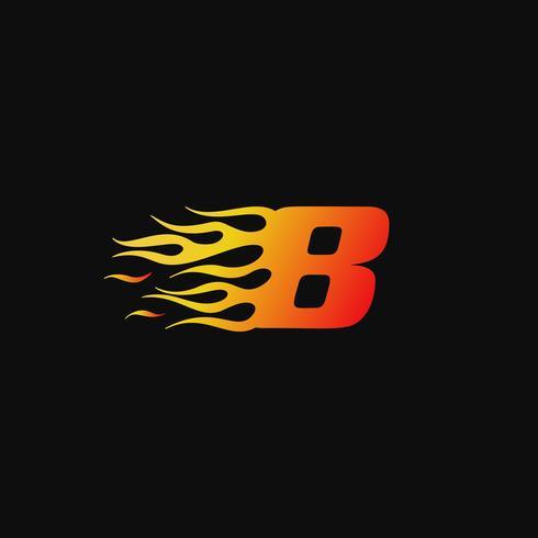 Numero 8 modello di progettazione logo fiamma ardente vettore
