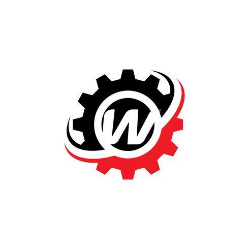 Modello di disegno di logo dell'ingranaggio della lettera W vettore