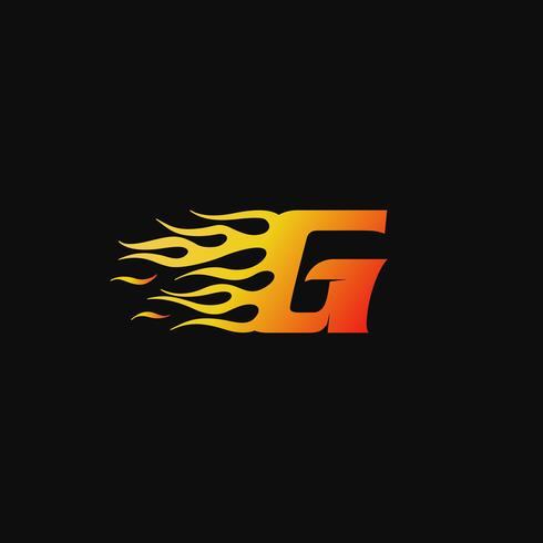 lettera G Modello di progettazione logo fiamma ardente vettore