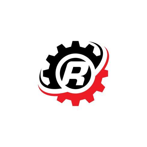 Modello di disegno di logo dell'ingranaggio della lettera R vettore