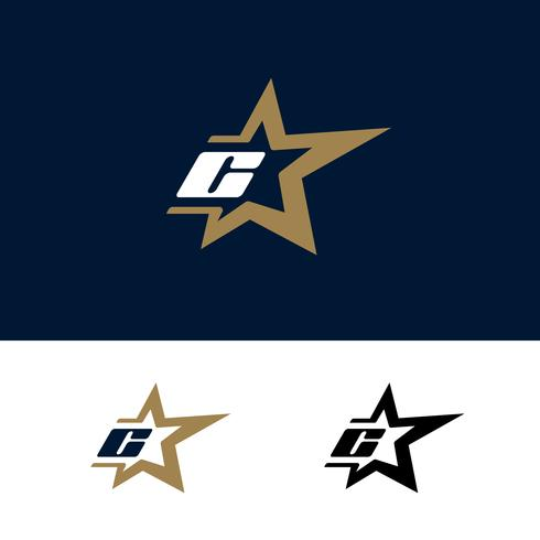 Modello di logo di lettera C con elemento di design stella. Illustrazione vettoriale