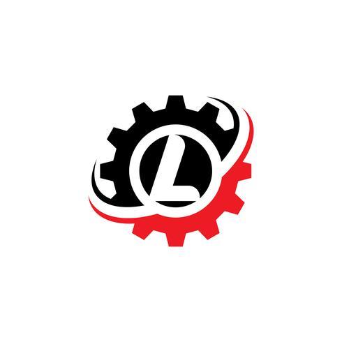 Modello di disegno di marchio dell'ingranaggio della lettera L vettore