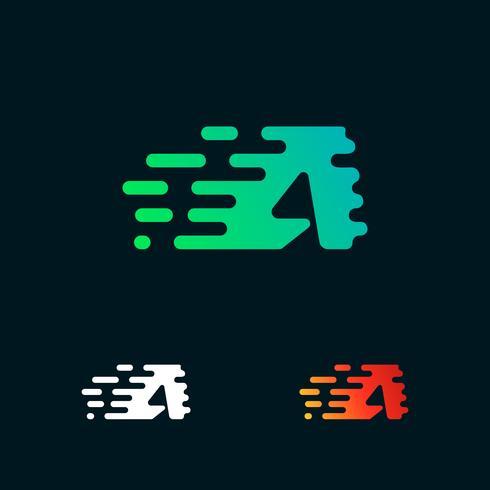 lettera A velocità moderna forme logo design vettoriale