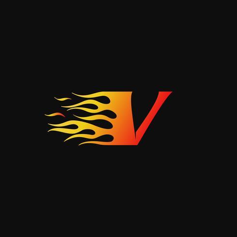 lettera V modello di progettazione logo fiamma ardente vettore