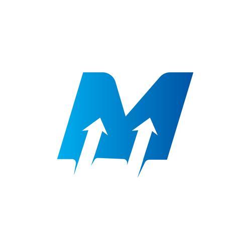 lettera M con modello di progettazione logo freccia vettore