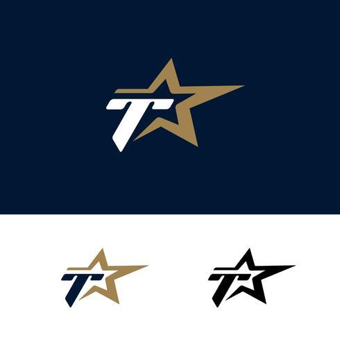 Modello di logo di lettera T con elemento di design stella. Illustrazione vettoriale