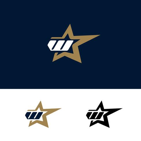 Modello di logo di lettera W con elemento di design stella. Illustrazione vettoriale