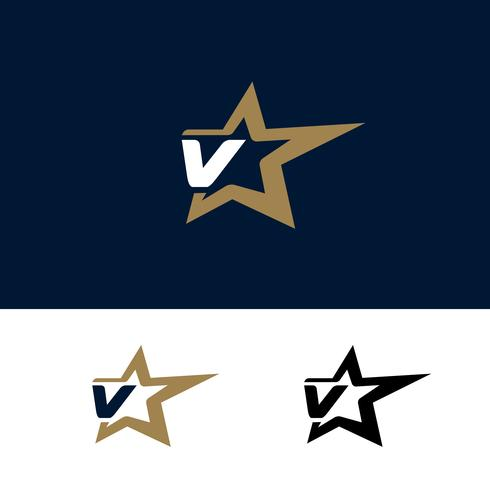 Modello di logo di lettera V con elemento di design stella. Illustrazione vettoriale