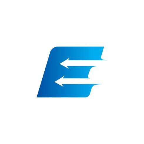 lettera E con modello di progettazione logo freccia vettore