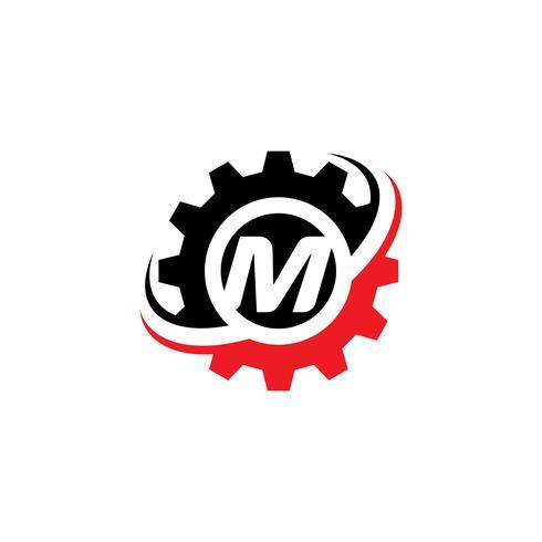 Modello di disegno di marchio dell'ingranaggio della lettera M. vettore