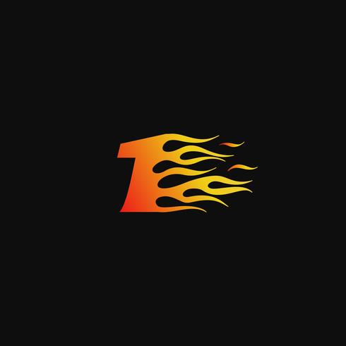 Numero 1 modello di progettazione logo fiamma ardente vettore