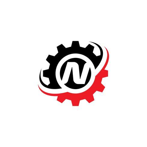 Modello di disegno di logo dell'ingranaggio della lettera N vettore