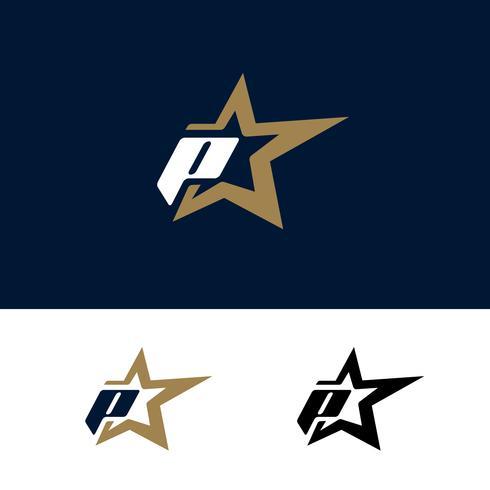 Modello di logo di lettera P con elemento di design stella. Illustrazione vettoriale