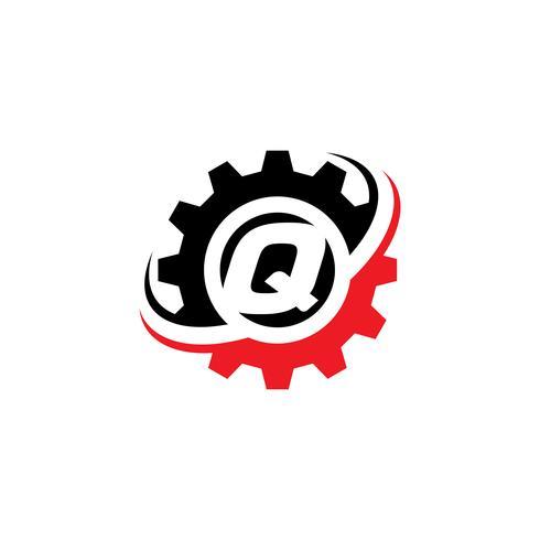 Modello di disegno di logo dell'ingranaggio della lettera Q vettore