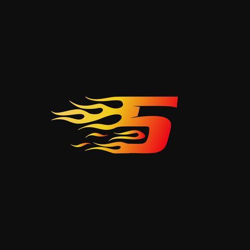 Numero 5 modello di progettazione logo fiamma ardente vettore