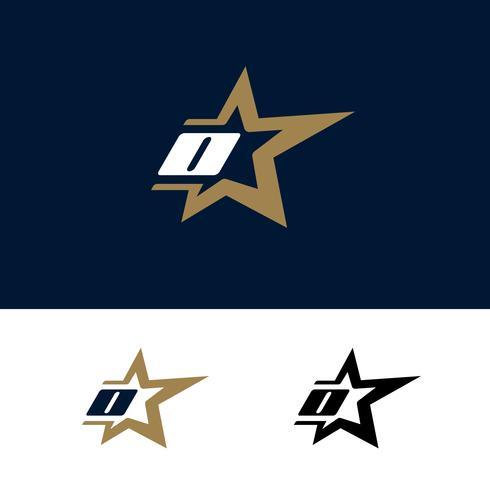 Modello di logo lettera O con elemento di design stella. Illustrazione vettoriale
