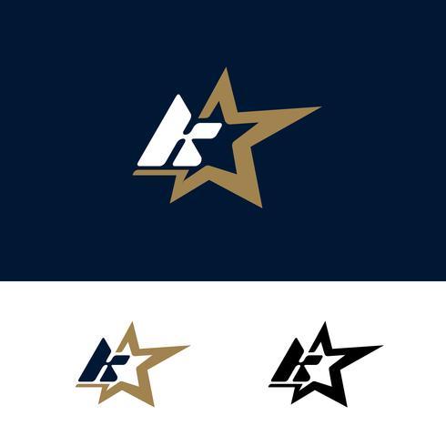 Modello di logo lettera K con elemento di design stella. Illustrazione vettoriale
