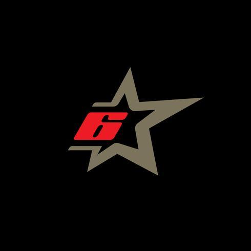 Modello di logo numero 6 con elemento di design stella. vettore