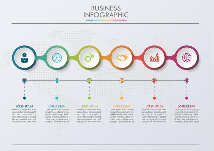 Visualizzazione dei dati aziendali. Icone infographic di cronologia progettate per modello astratto della priorità bassa vettore