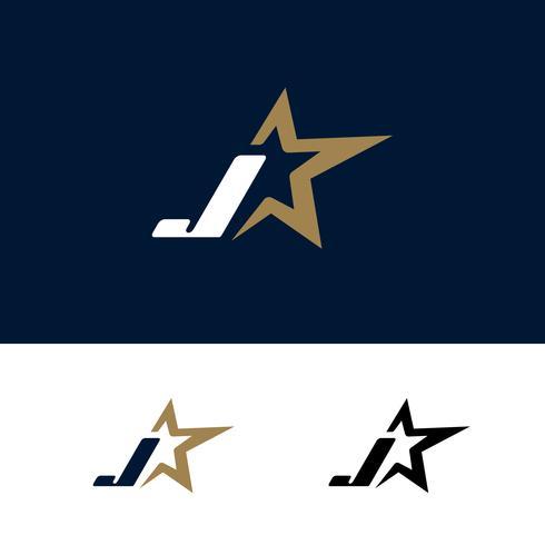 Modello di logo lettera J con elemento di design stella. Illustrazione vettoriale