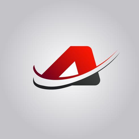 iniziale logo A lettera con swoosh colorato di rosso e nero vettore