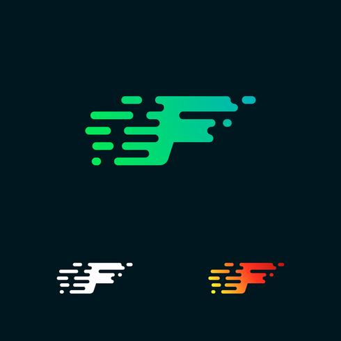 lettera F moderna velocità forme logo design vettoriale