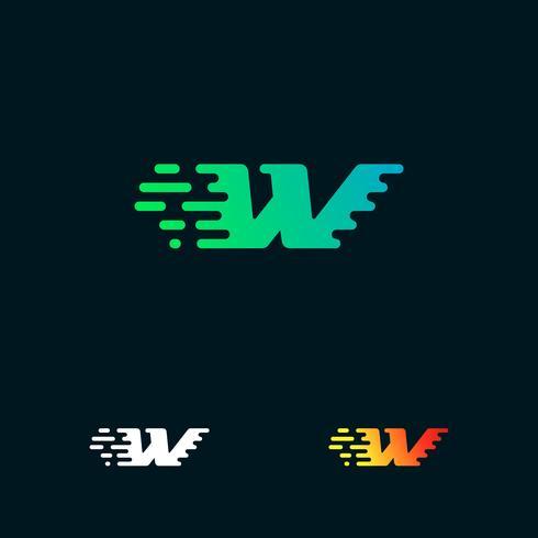 lettera W moderna velocità forme logo design vettoriale