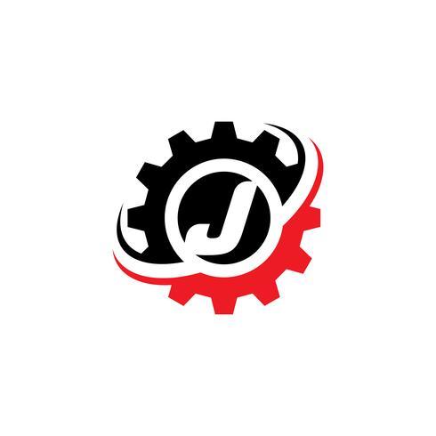 Modello di disegno di marchio dell'ingranaggio della lettera J vettore