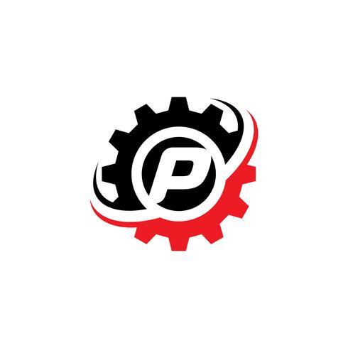Modello di disegno di marchio dell'ingranaggio della lettera P vettore