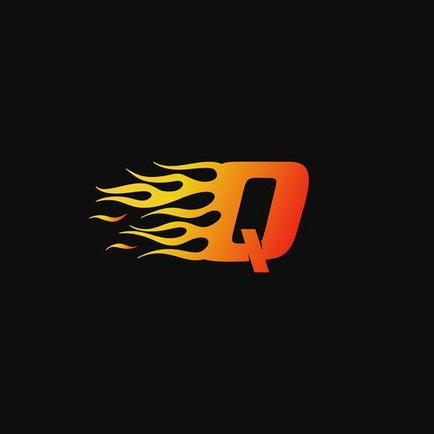 lettera Q modello di progettazione logo fiamma ardente vettore