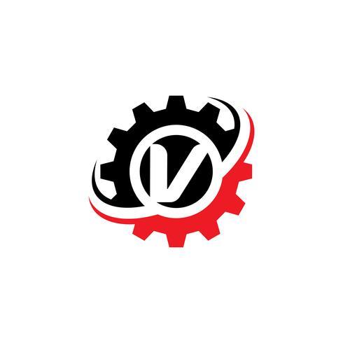 Modello di disegno di logo dell'ingranaggio della lettera V vettore
