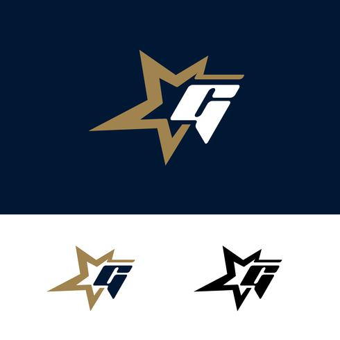 Modello di logo lettera G con elemento di design stella. Illustrazione vettoriale