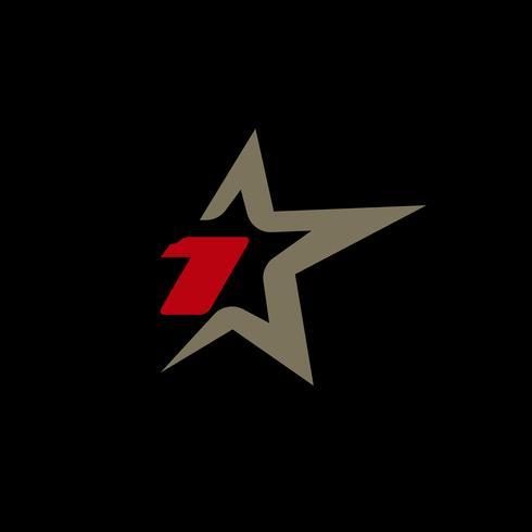 Modello di logo numero 1 con elemento di design stella. vettore