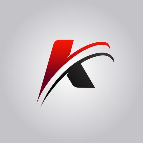 logo iniziale della lettera K con swoosh colorato di rosso e nero vettore