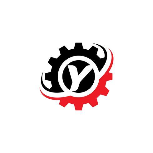 Modello di disegno di logo dell'ingranaggio della lettera Y. vettore