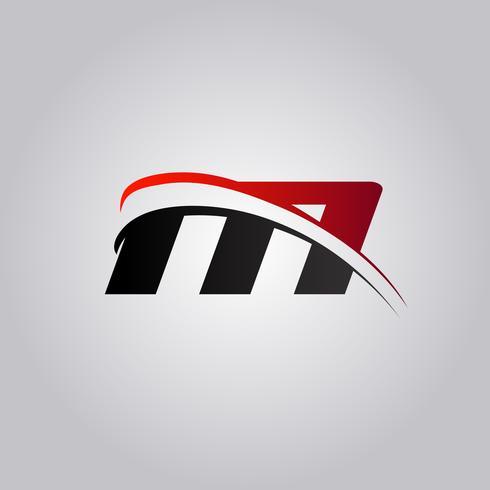 logo iniziale M Letter con swoosh colorato di rosso e nero vettore