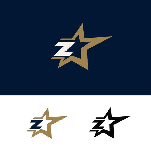 Modello di logo di lettera Z con elemento di design stella. Illustrazione vettoriale