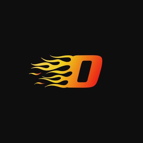 lettera O modello di progettazione logo fiamma ardente vettore