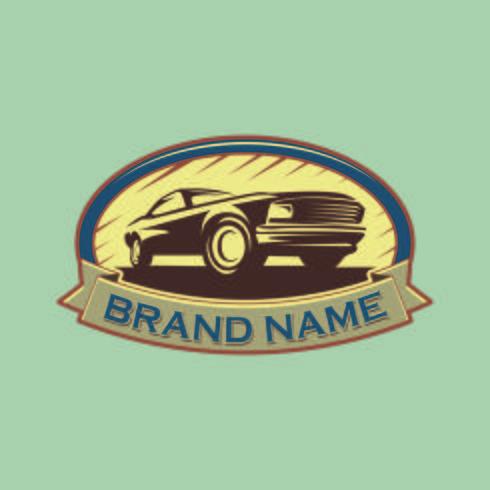 Un modello di design del logo auto classico o vintage o retrò. Vinta vettore