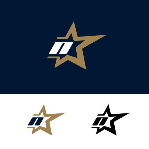Modello di logo di lettera N con elemento di design stella. Illustrazione vettoriale