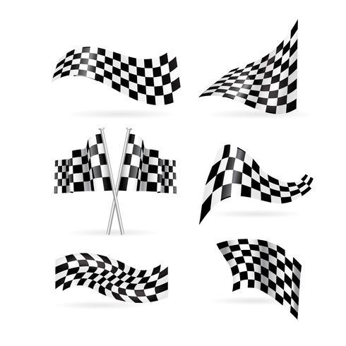 Set di bandiere a scacchi. illustrazione vettoriale