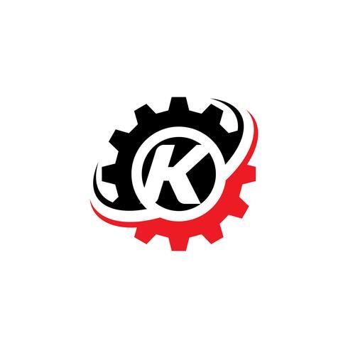 Modello di disegno di logo dell'ingranaggio della lettera K vettore