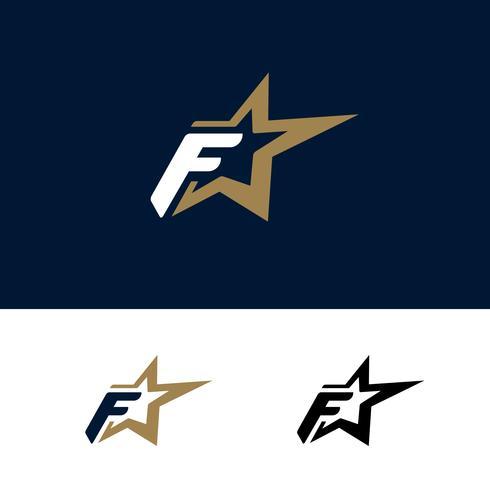 Modello di logo lettera F con elemento di design stella. Illustrazione vettoriale