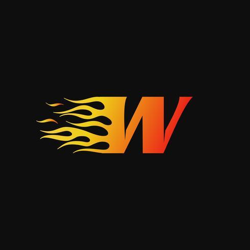 lettera W Modello di progettazione logo fiamma ardente vettore