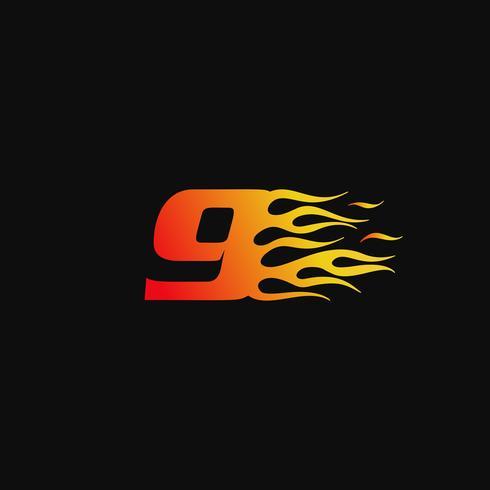 Numero 9 modello di progettazione logo fiamma ardente vettore