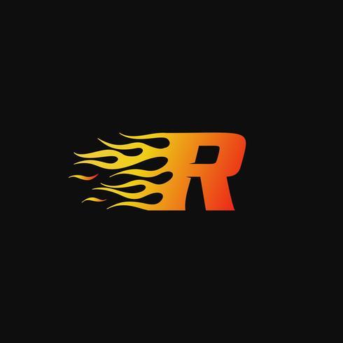 lettera R modello di progettazione logo fiamma ardente vettore