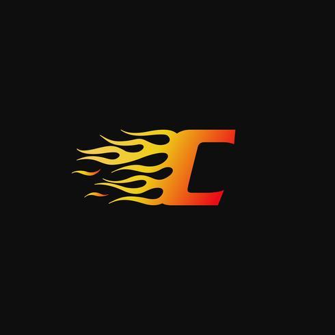 lettera C modello di progettazione logo fiamma ardente vettore